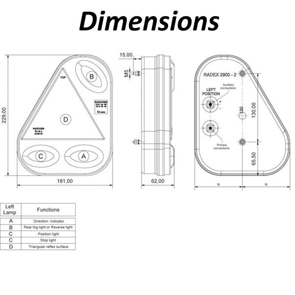 radex 2900 lefthand 5 function rear light  plug in
