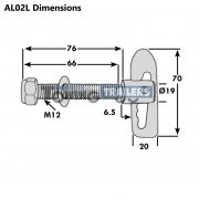 M12 Trailer Antiluce Fastener 76mm Thread Length 19mm Body Dimensions
