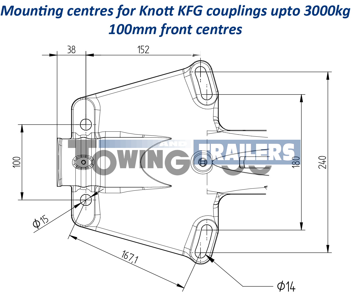 Knott Kfg27 Trailer Coupling Cast Hitch 2700kg For A Frame Used On Coupler Diagram Mounting Dimensions