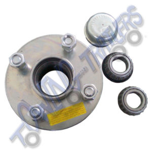 "Wheel Hub 1"" Shaft 4x Stud on 100mm PCD Inc Taper Roller Bearings and Dust Cap"