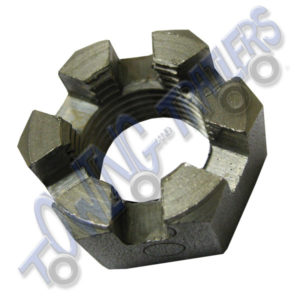 "Castle Hub Nut 3/4"" UNF - Suits some Peak, M&E & Ifor Williams Taper Roller Bearings"