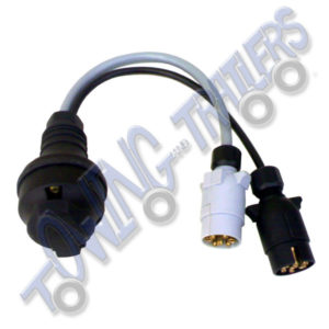 Extension Lead Convertor Twin 7 Pin N & S Type (Car) to 13 Pin Euro Socket (Trailer / Caravan)