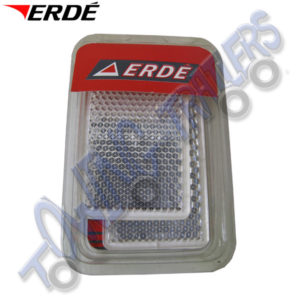 Erde White Front Rectangular Reflectors Self Adhesive (pair) 09191021