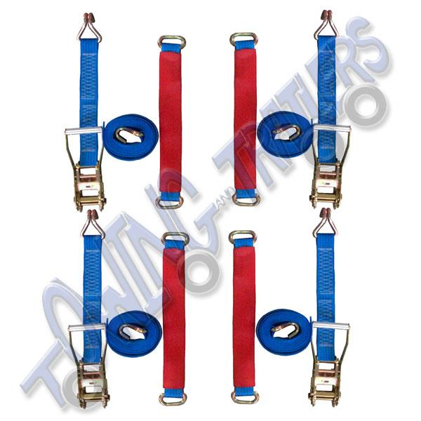 4x 3.2m Ratchet Strap Set Complete with Wheel Link