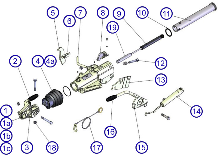 HU12 coupling Exploded hu12 3500kg spares towing and trailers ltd ifor williams trailer wiring diagram at bakdesigns.co