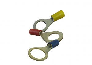 Blue, red and yellow cable eyelets for earthing cable to trailer body