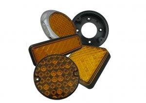 LED 12 volt and 24 volt amber indicator lights with bracket for trailers and commercial vehicles