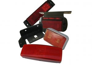 12 volt and 24 volt LED red rear marker lights for trailers and commercial vehicles with bracket