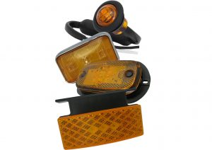 12 volt and 24 volt LED amber side marker lights for trailers and commercial vehicles with brackets