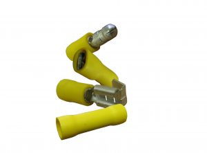 Female and male yellow crimp on connectors
