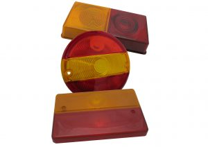Red and amber replacement light lenses for 3 function Rubbolite, Britax and SAW trailer lights