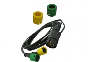 Yellow and Green AJBA Plug in cable wiring loom for trailers including Erde and Daxara