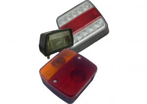 DAFA LED and bulb rear trailer lights with stop, tail, indicator function. Numberplate also available