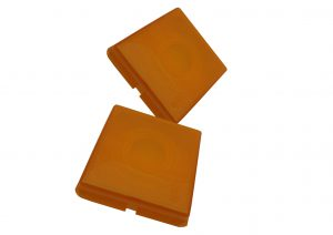 Replacement amber indicator lens for Rubbolite trailer indicator light.