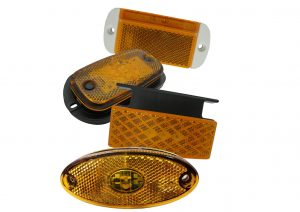 Amber LED side marker lights for trailers and commercial vehicles with bracket and white surround