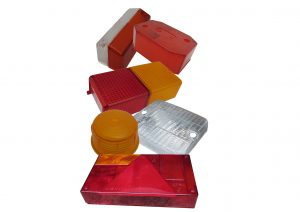 Replacement lenses for trailer lights including, multifunction, fog, reverse, indicator and marker lights