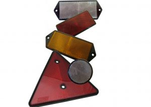 Red, white and amber front side and rear reflectors for trailers. Self adhesive and bolt on styles available