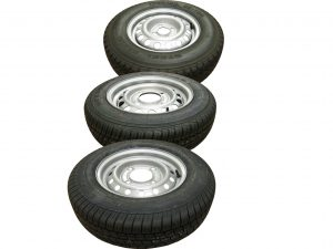 13 inch trailer wheels and tyres on 4 stud x 5 stud wheel rims suitable for commercial use and caravans