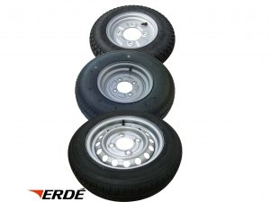 8 inch, 10 inch and 13 inch complete wheels and tyres for Erde 102, 121, 122, 132, 142, 143, 153, 163, 193, 194 and 193 braked trailers