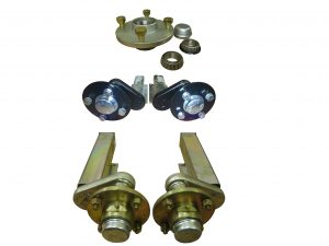 Unbraked trailer suspension units complete with 100mm PCD hubs. ! inch hubs, P series and E series hubs available