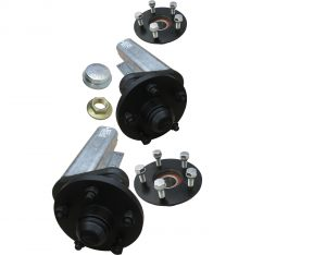 Unbraked trailer suspension units with P series and E series 5 stud x 112mm PCD trailer hubs