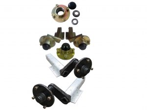 Unbraked trailer suspension units with 4 stud x 4 inch PCD hubs