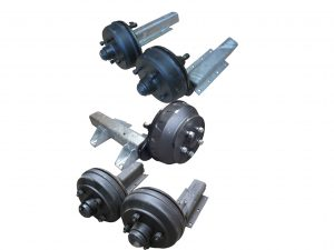 Braked Trailer Suspension Units complete with brake drums and hub caps. 4 stud x 5 stud brake drums ranging from 550kg, 750kg, 1100kg, 1300kg, 1500kg, 1800kg half axles