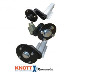 Knott Avonride unbraked suspension units with P series and E series hubs fitted