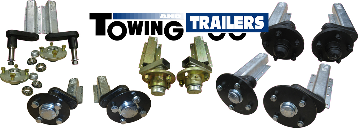 Trailer suspension units with hubs