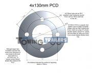 5 stud x 130mm PCD measurements