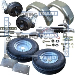 550kg Braked Trailer Kit 10 Inch Wheels Galvanised Mudguards