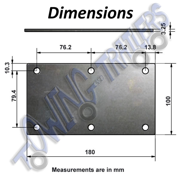 6 Hole suspension mounting plate Dimensions