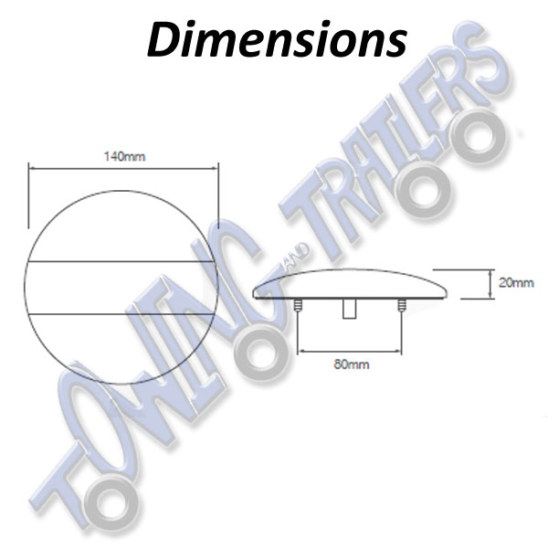 LED Autolamps EU140 Dimensions