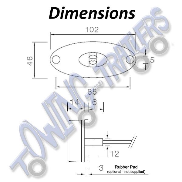 Aspock Flatpoint II Amber LED Trailer Side Marker Light 1m Cable 31-2309-037