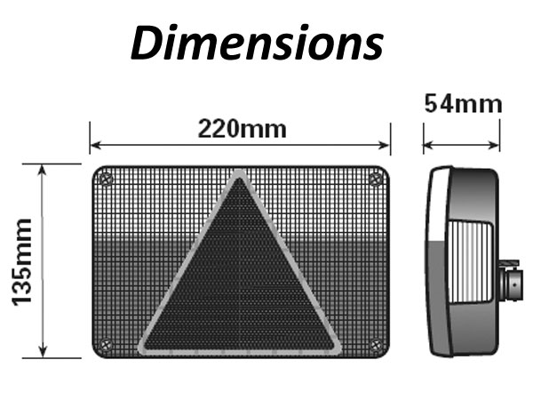 AJBA 220mm 6 Function Light Dimensions