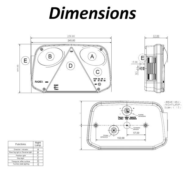 radex 2800 lefthand 6 function rear light  plug in