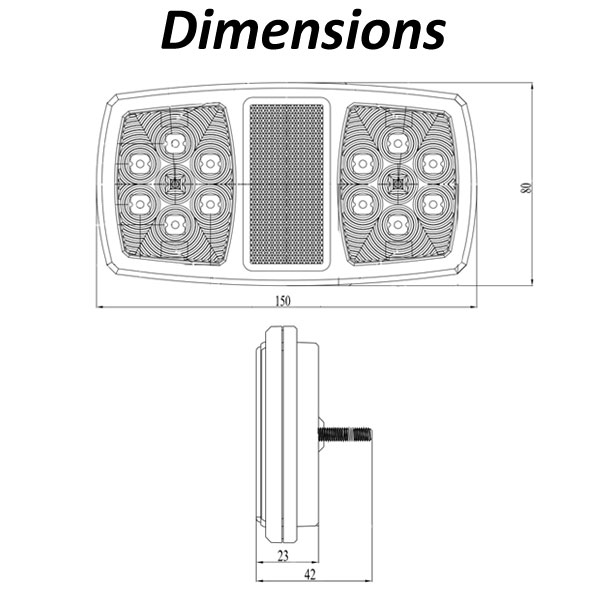 Brytec 3 Function LED Light Dimensions