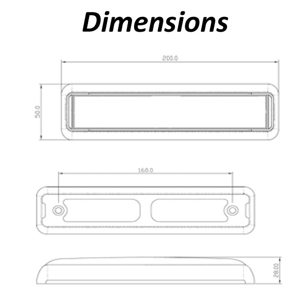 LED Autolamps 200mm Stop/Tail/Indicator Dimensions