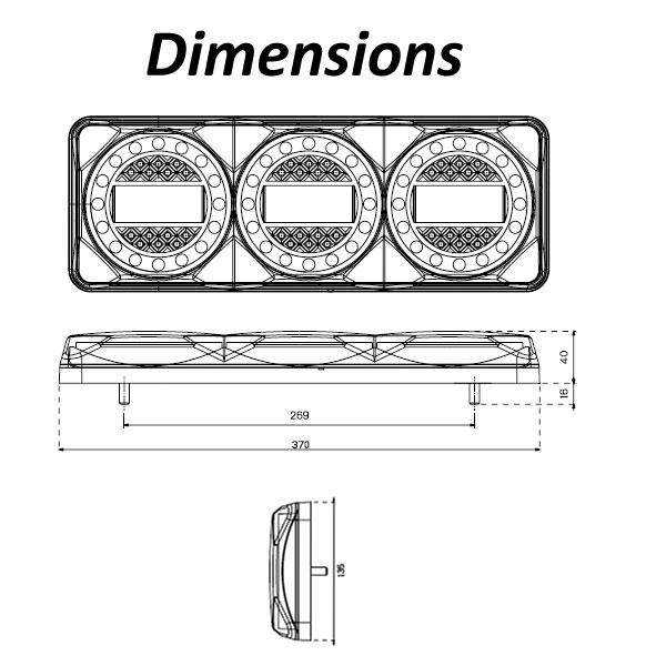 LED Autolamps Maxilamp 3XR Dimensions