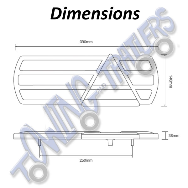 LED Autolamps Eurolamp EU390 Dimensions