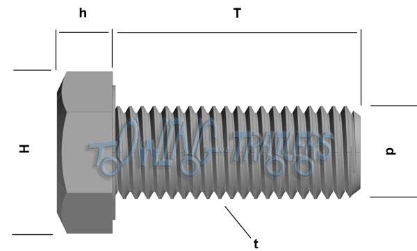 M12 x 40mm BZP Set Screw